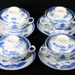 CUPS & SAUCERS-BOUILLON (Covered, Straight Line Border)