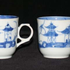 CUPS-TEA-DEMITASSE (2 Hole Handle, Cylindrical Shape, Straight Line Border)