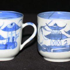 CUPS-TEA-DEMITASSE (Loop Handle, Cylindrical Shape, Straight Line Border)