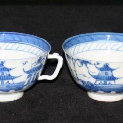CUPS-TEA-DEMITASSE (Square Handle, Straight Line Border)